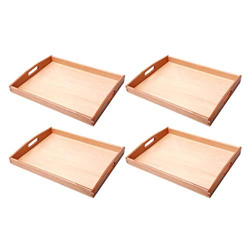Fenteer Organizzatore di Cubetti di Vassoi Montessori in Legno 4 Pezzi con Manico per Insegnamento Precoce
