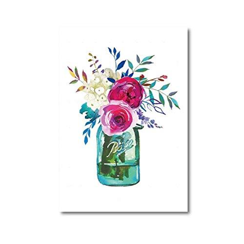 Flores de acuarela Impresión de tarro de masón Kerr Ball Jar Ramo Arte de la pared Pintura de la lona Peonía Rosa Imagen rosada Decoración de la pared de la habitación del hogar-50x70cm Sin marco