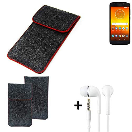 K-S-Trade Handy Schutz Hülle Für Motorola Moto E5 Dual SIM Schutzhülle Handyhülle Filztasche Pouch Tasche Hülle Sleeve Filzhülle Dunkelgrau Roter Rand + Kopfhörer