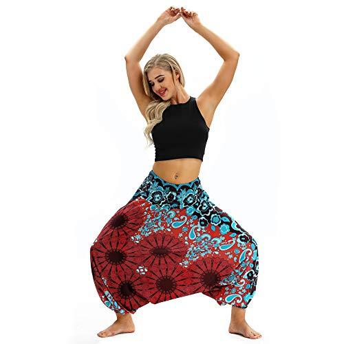 Dames Casual Loose Yoga Truien Baggy Boho Aladdin Jumpsuit Harembroek Hoge Taille Sport Broeken,c,one size