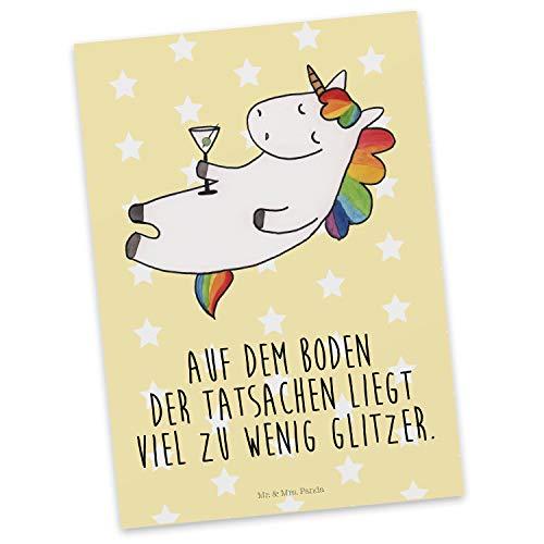 Mr. & Mrs. Panda Geschenkkarte, Karte, Postkarte Einhorn Cocktail mit Spruch - Farbe Gelb Pastell