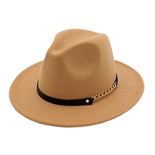 doublebulls hats Donna Moda autunno-inverno, retro cappello di jazz Trilby Cammello Colore 56-58cm marrone chiaro