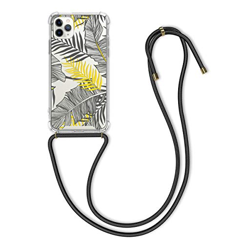 kwmobile Carcasa con Cuerda Compatible con Apple iPhone 11 Pro MAX - Funda de TPU con Colgante Palmeras Amarillo/Gris/Transparente