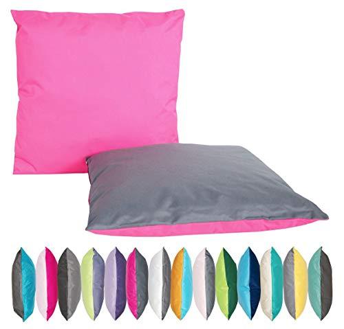 JACK 2-farbiges Wende Outdoor Lounge Kissen 45x45cm Dekokissen Wasserfest Sitzkissen Garten Stuhl Lotus Effekt, Farbe:Anthrazit - Pink