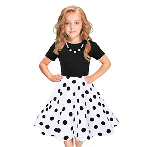 WOCACHI Kids Girls Vintage Dress Polka Dot Princess Swing Rockabilly Party Dresses Newborn Mom Daughter Son Coverall Layette Sets Best Gift Multi Adorable Dress-up Outfits