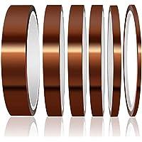 Gebildet 6 Rollos Cinta Kapton, Cinta Adhesiva de Alta Temperatura, Poliimida Cinta Resistente al Calor para Soldar, Recubrimiento en Polvo, Placa de Circuito Aislantes (3/6/8/10/12/20 mm x 33m)
