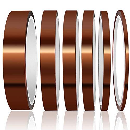 Gebildet 6 Stücke Kapton Tape, Hohen Temperaturen Hitzebeständig Klebeband, 3D Drucker Hitzebeständiges Tape bis 180°C, Polyimid Elektronik Isolierband (3mm/6mm/8mm/10mm/12mm/20mm * 33m)