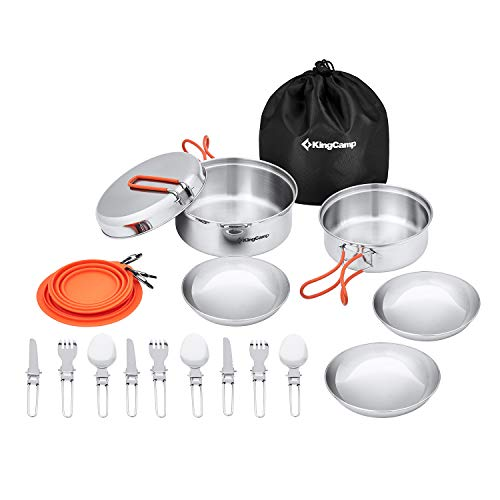 KingCamp Camping Cookware Mess Kit, Backpacking Cooking Set, Outdoor Camp Gear Accessories for Family Hiking Picnic Lightweight Cookware Sets (25 Pcs (Stainless Steel))