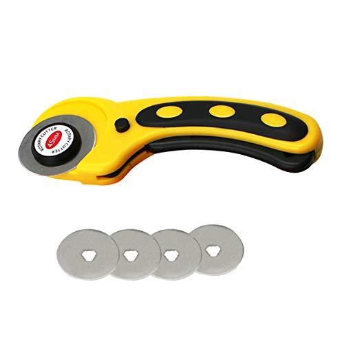 YOPOTIKA Cúter giratorio para tela de corte de piel, herramienta de cocina con 4 cuchillas de repuesto (amarillo)