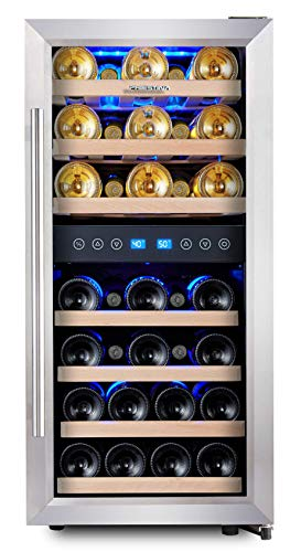 Phiestina Dual Zone Wine Cooler Refrigerator - 33 Bottle Free Standing Compressor Fridge and Chiller...