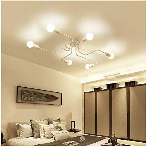 Yiwa smeedijzeren vintage LED plafondlamp woonkamer slaapkamer lamppara's voor de verlichting van het huis zonder lichtbron 8 wit