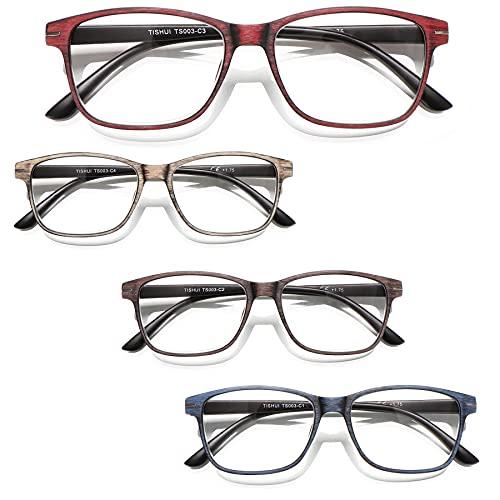 TISHUI Pack de 4 Gafas de Lectura 1.5 Gafas para Presbicia Hombres Mujeres,Lectores de ojos de gato para mujeres y hombres, gafas de moda