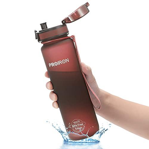 PROIRON Botella agua deporte Tritan Sin BPA Botella Reutilizable para Senderismo al Aire Libre, Viajes de Campamento 500ml ⭐