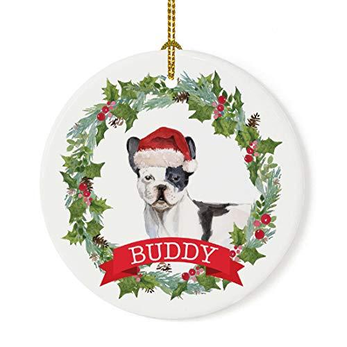 Andaz Press Personalized Round Porcelain Ceramic Christmas Tree Ornament Gift, Black & White French Bulldog, Holly Wreath Santa Hat Dog, Custom Name, 1-Pack, Dog Lovers, Pet Memorial Christmas Ideas