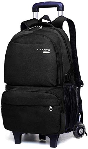 B/H Cute Print Trolley Backpack,Middle school trolley school bag, detachable wheeled backpack-Black Two Rounds,Rolling Backpack for Kids Adults