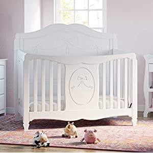 Storkcraft Princess 4-in-1 Fixed Side Convertible Crib, White Easily Converts to Toddler Bed, Day Bed or Full Bed, 3 Position Adjustable Height Mattress