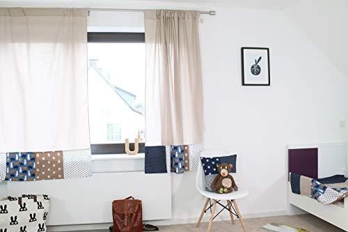 ULLENBOOM ® 2er Set Vorhänge Kinderzimmer 140x170 cm Sand Bär (Made in EU) - Patchwork Vorhang Kinderzimmer & Babyzimmer, 2 Kindergardinen Schals aus Baumwolle, Motiv: Sterne, Punkte