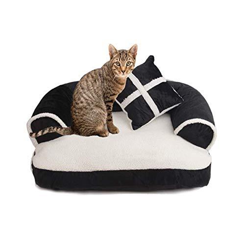 PLLXY Orthopädische Hund Sofa Bett,super Weich Hundesofa Katzensofa Katzenbett Hund-pad Mit Entfernbar Waschbar Ideal Für Katzen & Hunde-schwarz 60x40cm(24x16inch)