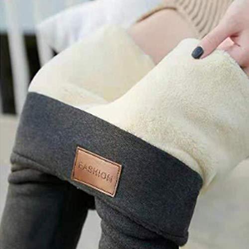 UKKD Leggings Warme Frauen Hosen Winter Skinny Dicker Samt Wolle Fleece Leggins Hose Lammfell Kaschmir Pants Weibliche Leggings