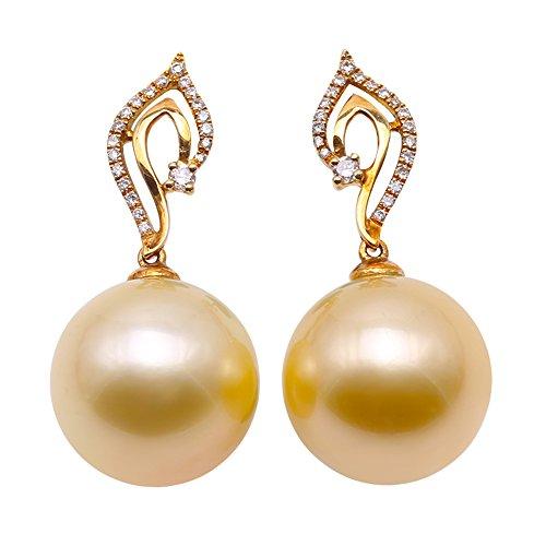 jyx 18K Gold Südseeperle 13mm rund Zuchtperlen Pearl Baumeln Ohrringe mit Diamanten