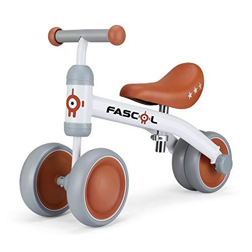 Fascol Bicicleta sin Pedales con Cojín Ajustable, Bicicleta Equilibrio Metálico con 4 Ruedas Cerradas, Bicicleta Infantil para Niños de 14-54 Meses (Blanco)