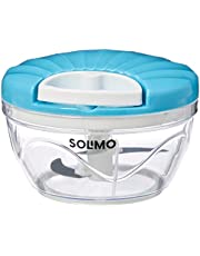 Amazon Brand - Solimo 500 ml Large Vegetable Chopper with 3 Blades, Blue