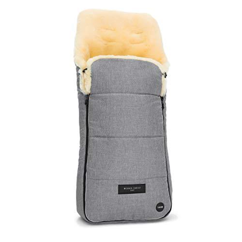 Lammfell-Fußsack AROSA LUXE von WERNER CHRIST BABY – kuscheliger Buggy Fußsack aus medizinisches voll-Fell, als Wickelunterlage & Kinderwagen-einlage verwendbar, in grau meliert