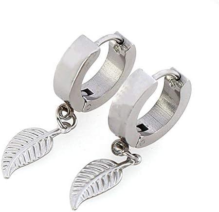 Stainless Steel Leaf Pendant Dangle Earrings Leaf Ear Piercing Jewelry Hoop Earrings Silver product image