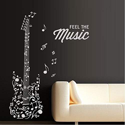 Guitarra Calcomanía De Pared Pegatina De Vinilo Decoración De Arte Dormitorio Diseño Mural Educación Escolar Sonando Artista 42 * 128Cm.