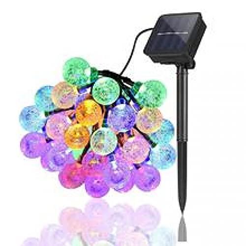 Moxled 60 LED al aire libre Pascua Pascua cuerda de luz, bola de cristal de luz solar de hadas para decorar jardín, terraza, patio, hogar, Navidad, color de fiesta 11 metros, 60 luces, 8 funciones