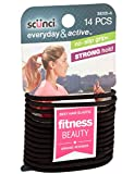Scunci Black Gel Elastics, No Slip Grip, Strong Hold-Ponytailers (14-pcs)