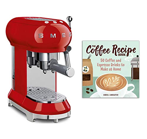 Smeg ECF01RDUS 50s Retro Style Espresso Machine Bundle with The Coffee Recipe Book: 50 Coffee and Espresso Drinks to Make at Home - Red