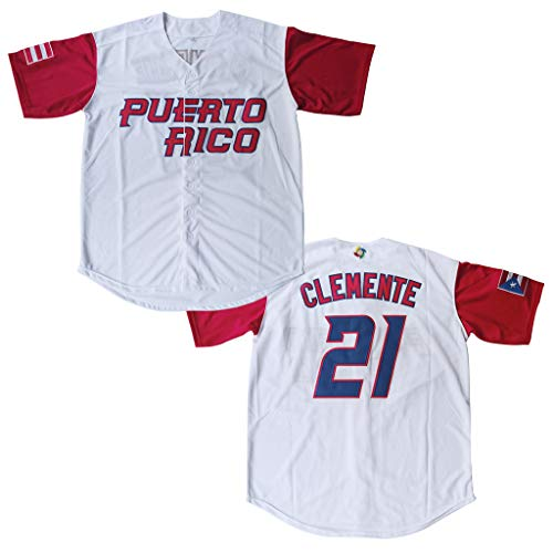 #21 Roberto Clemente Puerto Rico World Game Classic Mens Baseball Jersey Stitched Size M