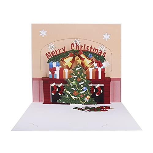 Innbox Tarjeta de felicitación 3D desplegable con diseño de árbol de Navidad y chimenea de Navidad, tarjeta de Navidad con sobre, tarjeta de regalo DEXIGC-009
