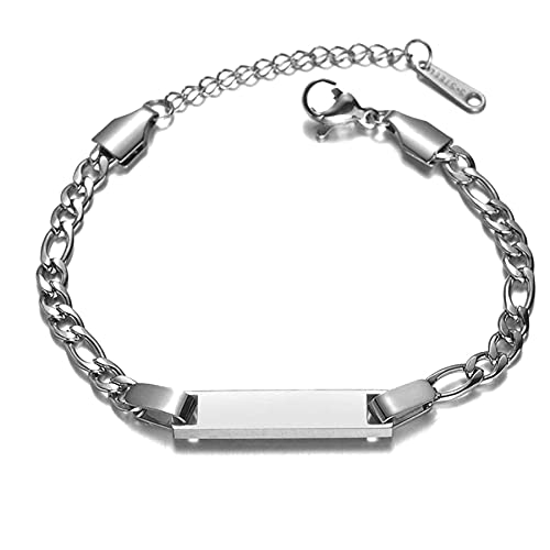 JewelryWe Schmuck Paar Armband mit Gravur, Edelstahl Figarokette Partner Freundschaftsarmband Paar Armkette Armreif Silber