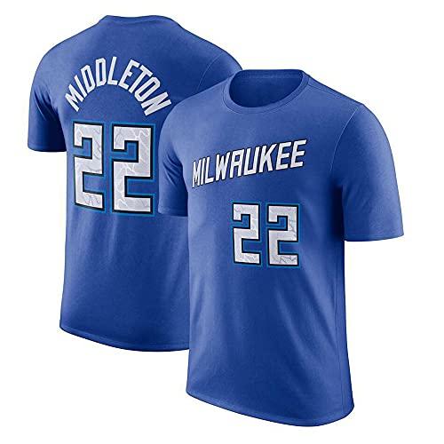 YZQ Camisetas para Hombre, Milwaukee Bucks # 22 Khris Middleton NBA Summer Basketball Camisetas Casual Deportes Chalecos Camisetas De Manga Corta,Azul,M(165~170CM)