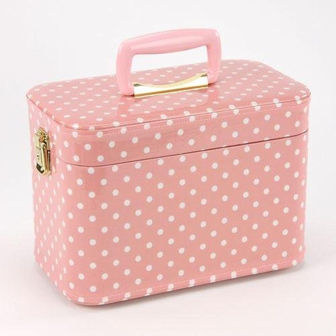 長いです貫入圧倒する日本製 メイクボックス 水玉(ドット) ピンク 30cm(鍵付き/コスメボックス)