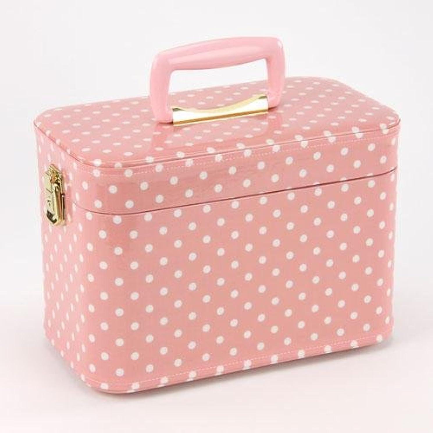 マーキーローブ寝具日本製 メイクボックス 水玉(ドット) ピンク 30cm(鍵付き/コスメボックス)