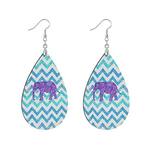 Pendientes colgantes de madera con forma de lágrima, diseño de elefante, color morado y verde azulado, para mujeres y niñas (1 par)