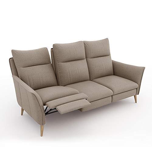 place to be. 3 Sitzer Sofa Recliner mit Zwei Liegefunktionen verstellbares Liegesofa Relaxsofa Couch Buche Sand