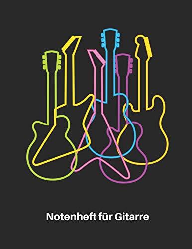 Notenheft für Gitarre: Retro Neon E Gitarren Notenbuch 110 Seiten mit leeren Tabs und Akkord Feldern. Tolle Geschenk Idee für Gitarristen, Gitarren Lehrer und Schüler.