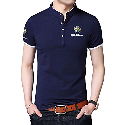 CONVERMPU Herren Hemd mit Stehkragen Alfa-RoMeo LOGO Print Kurzarm T-Shirt Herren & Damen Baumwoll-Poloshirts Freizeit/Blau/L