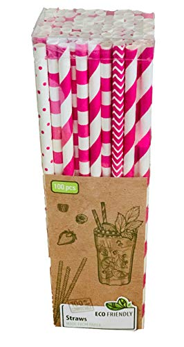 Cannucce di carta, 100 pezzi, rosa e bianco, 100% biodegradabili, ECO Friendly, cannucce