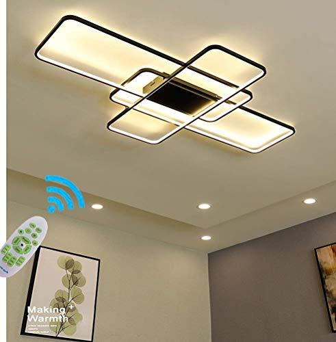 Wohnzimmerlampe LED Deckenleuchte mit Fernbedienung Schlafzimmer Deckenlampe Esszimmerlampe Stufenloses Dimmen Viereckig Metall lampen Deckenbeleuchtung Metallrahmen Pendelleuchte 3 flammige
