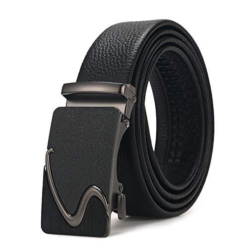 Xme Cinturón de piel de vacuno de capa superior con hebilla automática de cuero para hombres, cinturón casual de negocios
