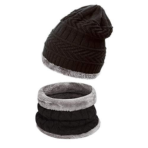 Ndier Conjunto De Bufanda Sombrero para Hombre y Mujer de Gorro de Invierno Unisex Sombrero Caliente de Punto Gorra Bufanda con Forro de Lana