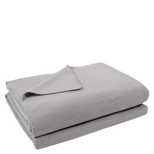 zoeppritz since 1828' Soft-Fleece-Decke – Polarfleece-Decke mit Häkelstich – flauschige Kuscheldecke – 160x200 cm – 920 light grey mel. – von 'zoeppritz since 1828' 103291-920-160x200