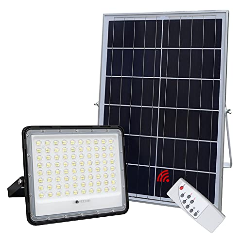 300W LED Solar Flood Lights,24000Lumens Street Flood Light Outdoor IP67 Waterproof with Remote Control Security Lighting for Yard, Garden, Gutter, Swimming Pool, Pathway, Basketball Court, Arena