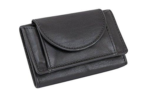 LEAS Kleine Minibörse sehr dünn, flaches Portemonnaie mit RFID Schutz, Block Folie mit Geschenk Box Echt-Leder, schwarz