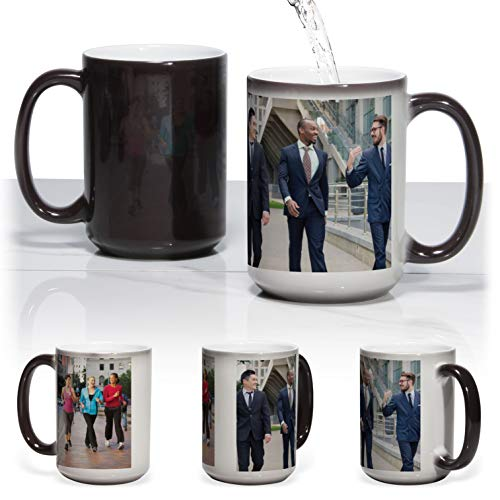 15oz Large Magic Mug Black Surface with Heat Activation to have our custom photo apear.